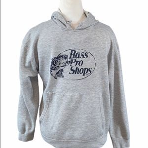 Bass Pro Shops Gray Logo Pullover Hoodie Size L